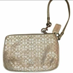 Coach Gold and Silver Sparkle Wristlet